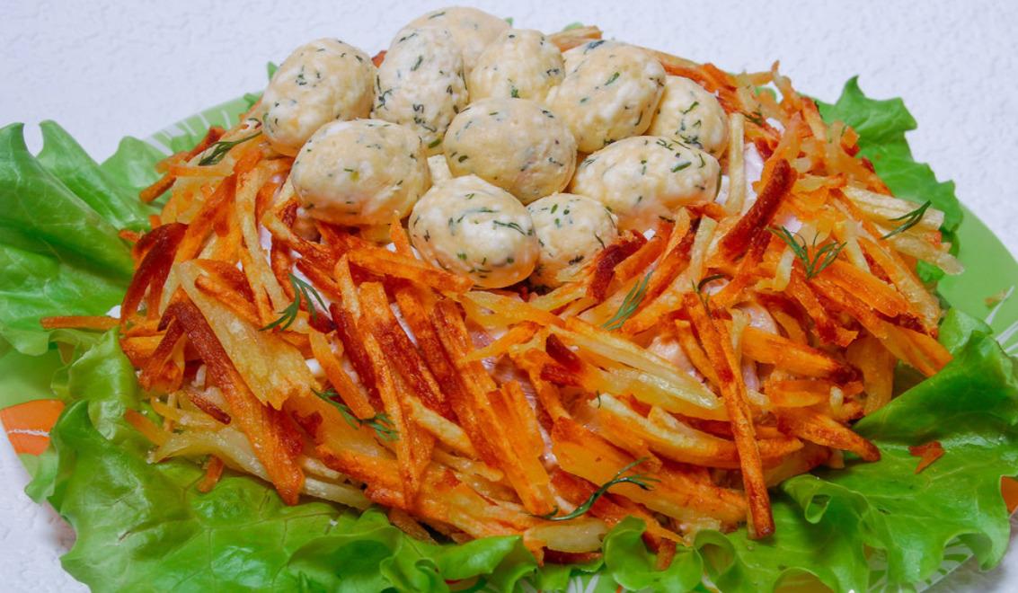 Салат гнездо глухаря классический рецепт с фото