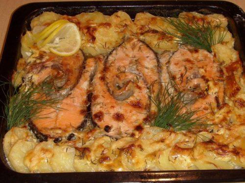 картошка рыба