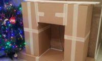 Фальш-камин из картонных коробок