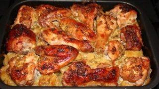 курица с ананасами и картошкой
