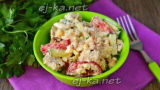 Миниатюра к статье Салат с тунцом, овощами и яйцом