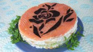 Миниатюра к статье Суши-торт с креветками и семгой
